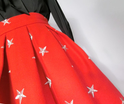 CHRISTMAS RED Winter Wool Midi Pleat Skirt High Waist Midi Skirt w. Star Pattern image 3