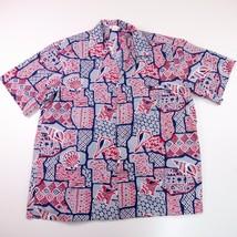 Vintage XL Hawaiian Shirt Made in Hawaii Red Blue Gray Shells Fish Camp ... - $23.36
