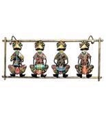 India Metal Rajasthani Warli Musicians Playing Four Instruments Wall Han... - $42.95