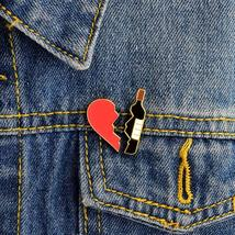 2PCS/SET Heart And Wine Pin Set Broken Heart Puzzle Piece One Pair Brooches Hard - $3.99