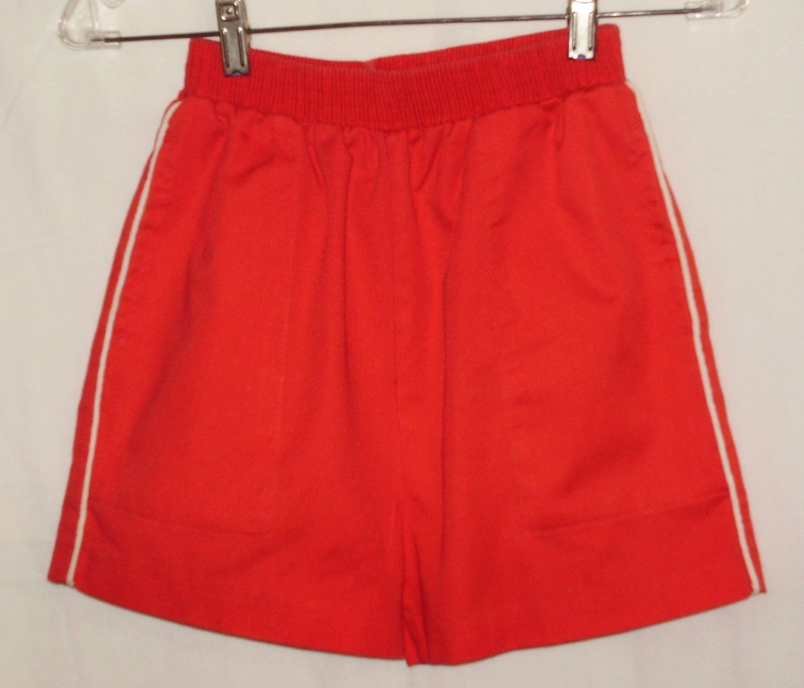 Primary image for Red shorts w/white side piping; 2 side-seam pockets, 1 button-close in back. 7-8