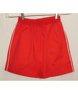 Red shorts w/white side piping; 2 side-seam pockets, 1 button-close in b... - $7.91