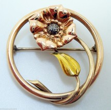 Retro 18k Tri-Color Pin with Flower and Leaf (#2945) - $252.23
