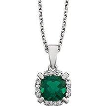 14 Karat White Gold Created Emerald and Natural Diamond Halo Drop Pendan... - $349.74