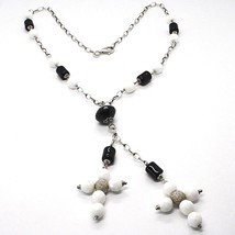 Silver 925 Necklace Black Onyx Tube, Double cross Pendant Chain, Oval image 1