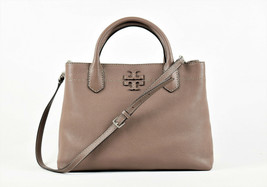 Tory Burch McGraw Triple Compartment Satchel - Silver Maple (Retail $498) - $354.42