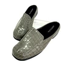 Aerosoles Double Down Gray Faux Alligator Print Flats Mule Shoes Women's 11 - $23.74