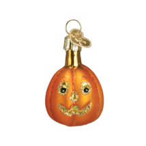 OWC MINIATURE HALLOWEEN PUMPKIN JACK O' LANTERN GLASS HALLOWEEN ORNAMENT... - $8.88