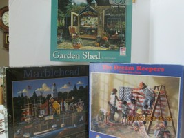 """3 Jigsaw Puzzle  500-550 Pc.""""Garden Shed"""",Marblehead, """"Dream Keepers"""" (4) - $13.86"""