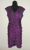 ADRIANNA PAPELL WOMENS SZ 6 DRAPED TIERED RUFFLE DRESS METALLIC COCKTAIL... - $39.99