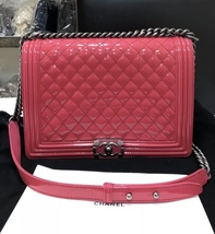 NEW AUTH CHANEL PINK QUILTED PATENT LEATHER LARGE BOY FLAP BAG