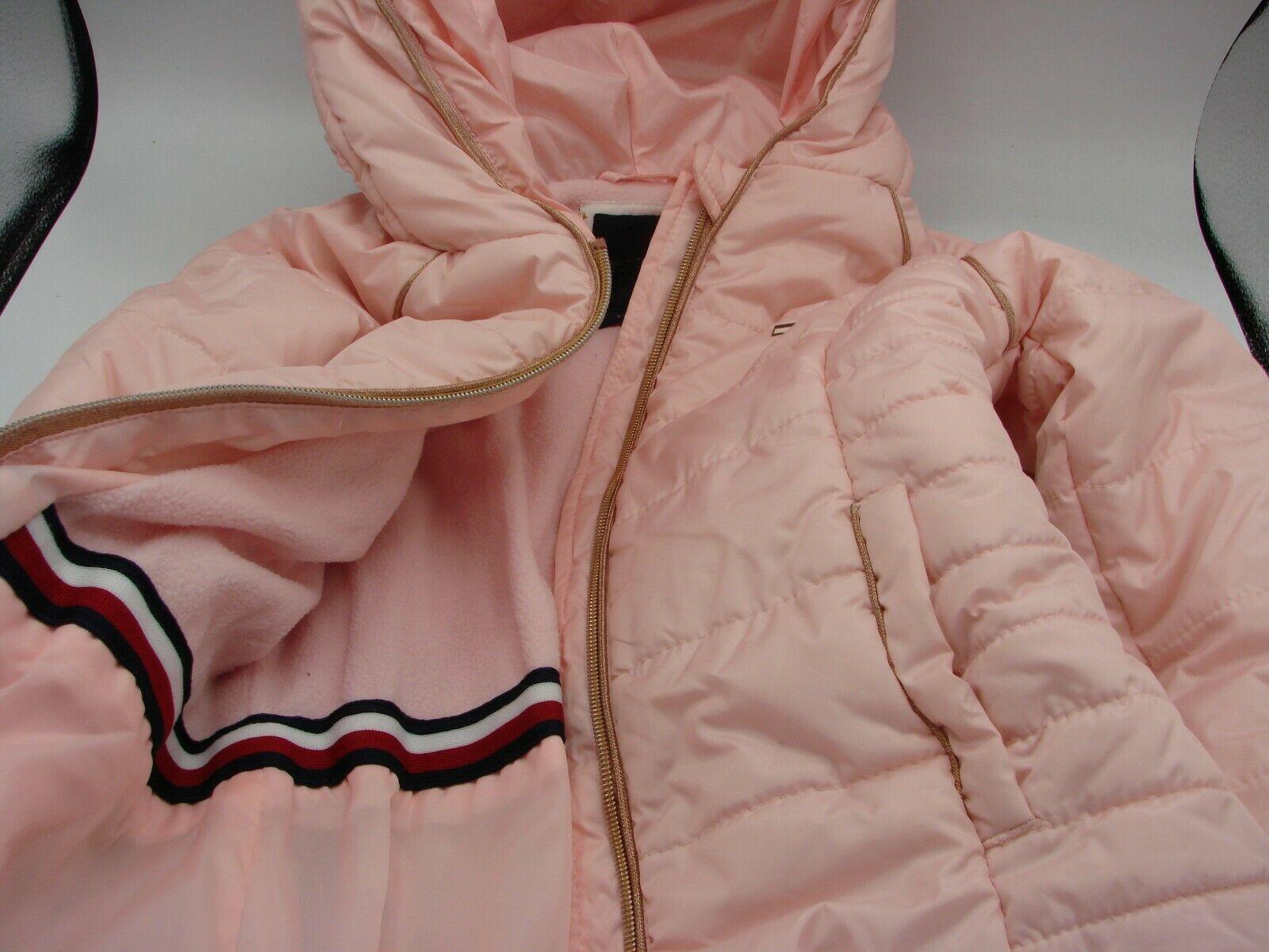 EUC Tommy Hilfiger Little Girls Hooded Puffer Jacket Size 5 Pink image 5