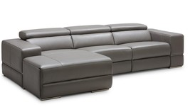 VIG Divani Casa Hilgard Modern Dark Grey Leather Sectional W/ Recliner - $3,499.00