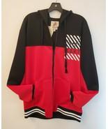 Men's Zip-Front Hoodie Jacket Long Sleeve Black & Red GOAT Fashion Appar... - $48.37