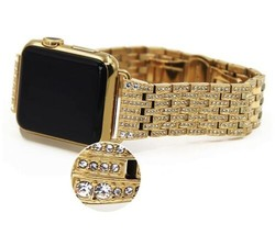 24K Gold 42MM Apple Watch 24K gold Links Band with Diamond Rhinestone Gen 1 - €576,72 EUR