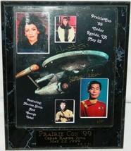 Star Trek Marina Sirtis & George Takei Autograph Photo Prairie Con 1999 Plaqued - $58.04