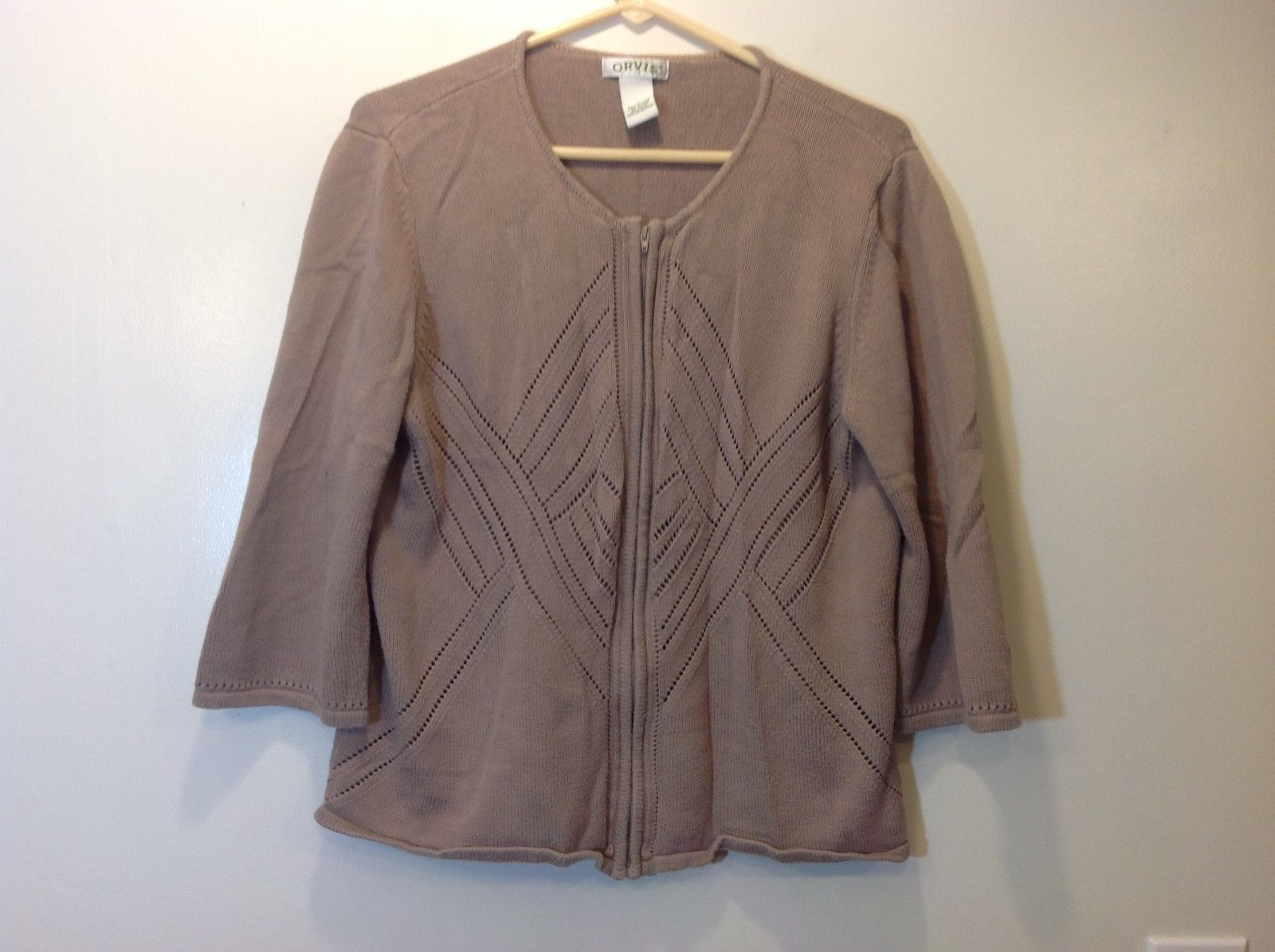 ORVIS Creamy Light Brown 3/4 Sleeve Zip Up Sweater Sz LG