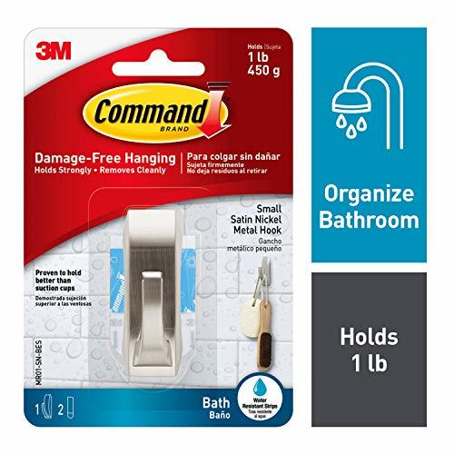 Command Modern Reflections Metal Bath Hook, Small, Satin Nickel, 1-Hook with Wat