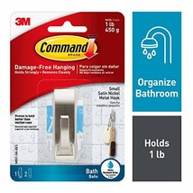Command Modern Reflections Metal Bath Hook, Small, Satin Nickel, 1-Hook with Wat image 1