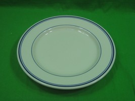 """Vintage Homer Laughlin China 10.75"""" Dinner Plate with Blue Trim Made in USA - $12.16"""