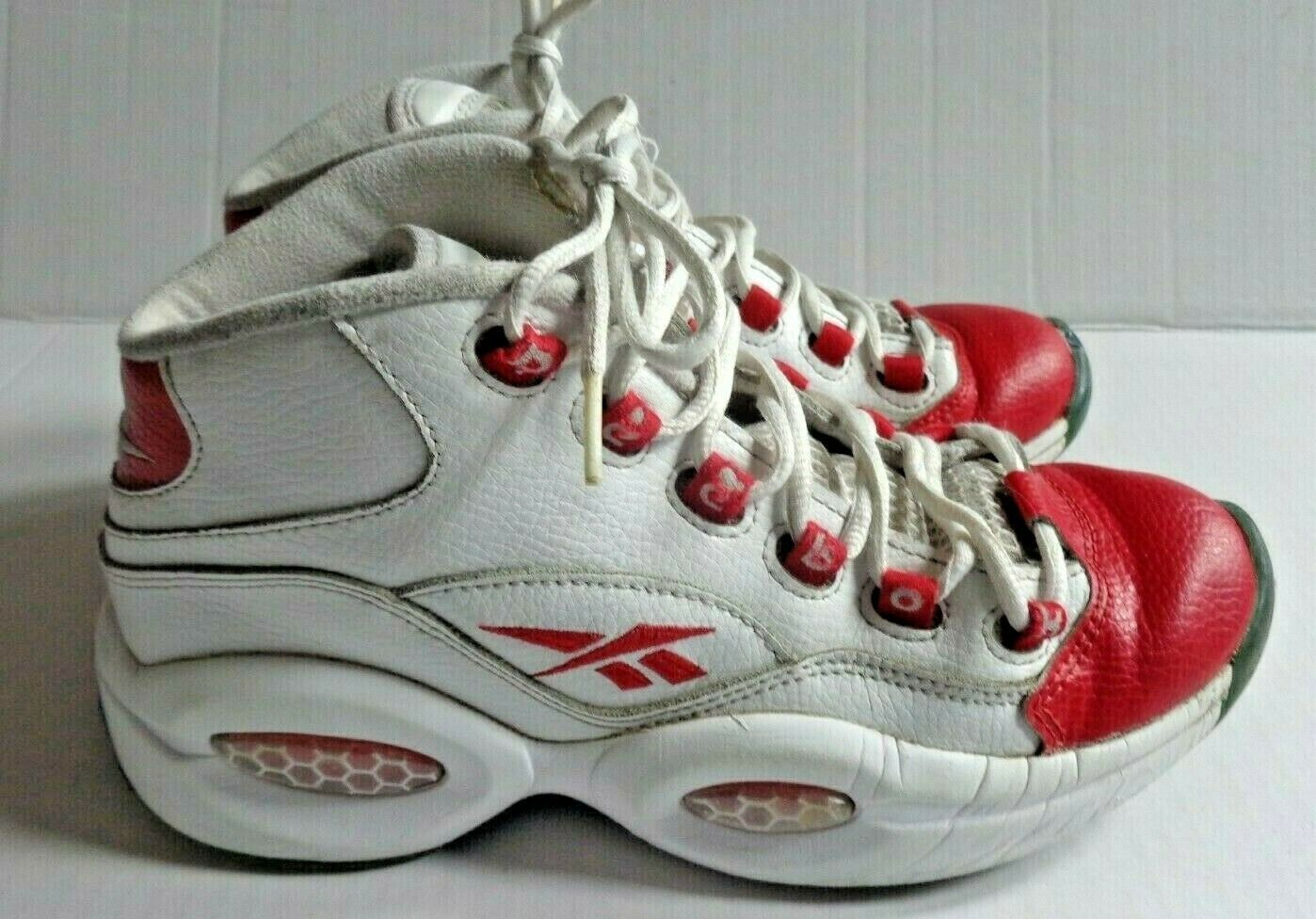 REEBOK Question Mids Basketball Shoe Youth Size 5.5 White Red Q School Popular