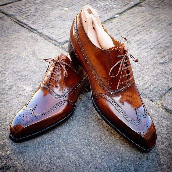 Primary image for Handmade Brown Ankle Leather Shoes, Men's Formal Shoes