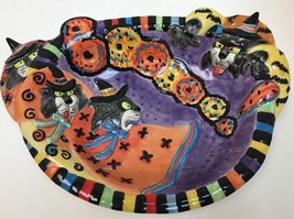 Fitz & Floyd Kitty Witches Halloween HandCrafted Ceramic Deep Platter Candy Bowl - $39.59