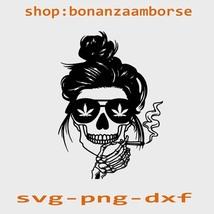 Skull Smoking Weed SVG, Momlife Skull Bun Hair SVG, Mom Skull Weed - $1.99