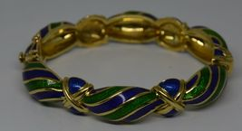 Vintage Tiffany & Co Blue Green Enamel & 18K yellow Gold Hinged Curved Bangle image 5