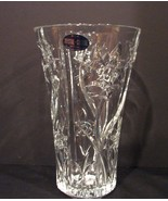 DePlomb 24% Lead Crystal Vase Daffodils ~Butterflies Design USA Made - $19.99