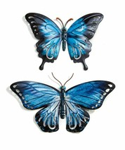 """Blue Metal Butterfly Wall Decor Set of 2 - 14"""" & 10.5"""" Wide With Wing Cut Outs"""