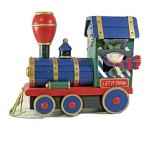 Wood Train Engine Locomotive Red & Blue Christmas Decor Franks Nursery &... - $12.86