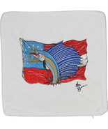 Embroidered Cushion Pillow Cover Marine Art Throw Pillow Georgia Flag/Sailfish - $19.95