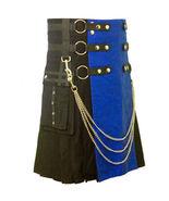 Scottish Unisex Utility Stylish Kilt With Black And Blue Two Toned Kilt ... - $74.99