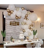 70 Pcs Balloon Garland Arch Kit with Gold and White Balloons Golden Conf... - $28.47