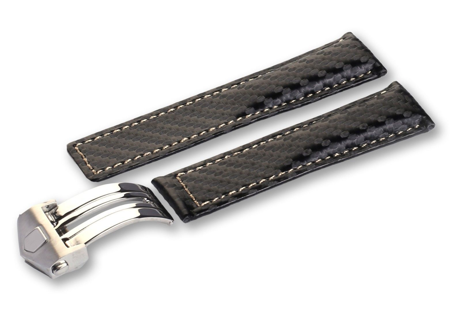For Tag Heuer watch Black/White Genuine Carbon/Leather Strap/Band 20 22 24mm - $25.11 - $37.26