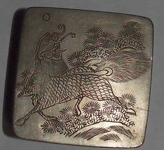 Antique Japanese Inkwell Signed Fu Dog Copper White Metal Engraved 19th Century image 5