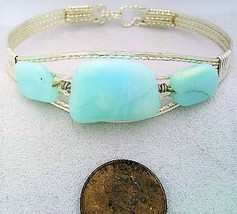 Blue Opal Silver Wire Wrap Bracelet Sz. 6.5 - $31.97
