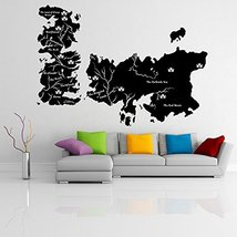( 71'' x 50'' ) Vinyl Wall Decal World Map Game of Thrones with Castles / Atlas  - $88.18