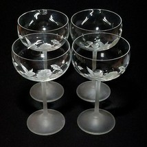 4 (Four) AVON HUMMINGBIRD Etched Crystal Champagne/ Tall Sherbet Glasses France image 2