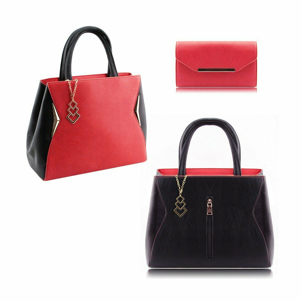 Primary image for STATEMENT STYLISH FAUX LEATHER TWO FACES HANDBAG SHOULDER BAG PURSE BLACK RED