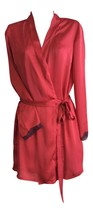 Womens Ladies Designer Short Deep Red Lace Trim Silk Wrap Robe Gown with... - $14.99