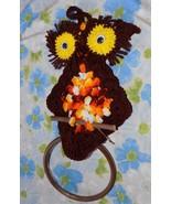 """VTG 1970's 17"""" long Macrame Owl Towel Ring Holder Hanger 70s - $19.75"""