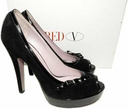 Red Valentino Bow Trim Platform Pumps Black Suede Peep Toe Shoes 39.5 - £129.36 GBP