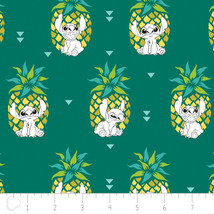 "Disney Stitch Pineapple in Evergreen 100% Cotton Fabric Remnant 33"" - $13.71"