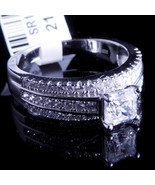 Ladies 14K White Gold Fn Lab Diamond Princess Cut Enagement Ring Band Va... - $49.99