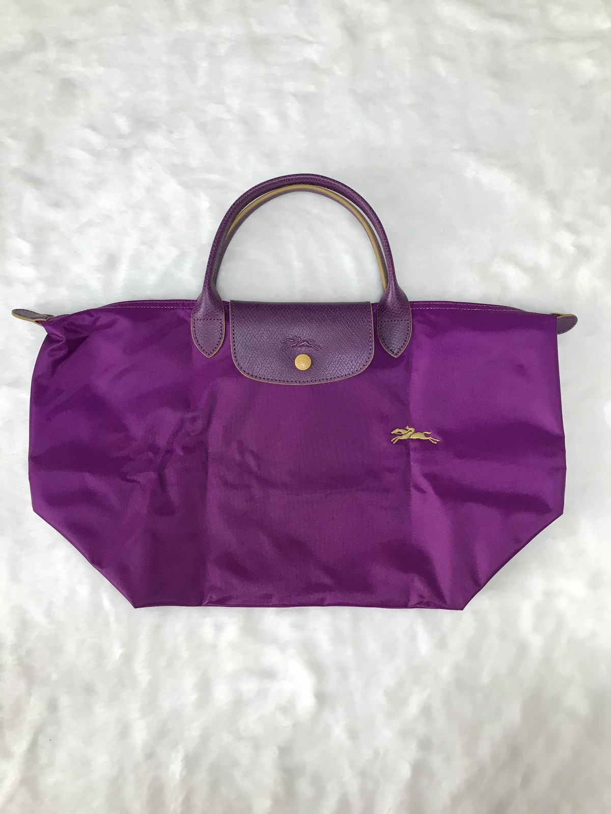 Longchamp Club Collection Horse Embroidery Short Handle Medium Handbag Violet