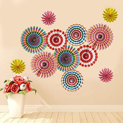 SHHS Colorful Rainbow Paper Fans for Party Decoration-Set of 12 Round Wheel Hang