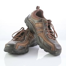 Skechers Brown Leather Bicycle Toe Fashion Sneakers Shoes Mens 11.5 SN 6... - $34.46