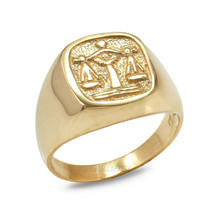 Gold Libra Mens Zodiac Sign Ring - $379.99+